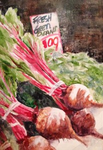 "Finished Painting, ""Beets 'N Green Beans"", Watercolor on Gessoed Plexiglass. 21 x 31"
