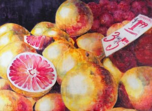 Finished! Grapefruit Splash. Watercolor on Plexiglass. 21x31