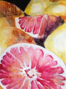 Concentrating on the focal point, I added detail to the grapefruit sections.