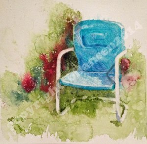 Turquoise Chair finished. 8x8 watercolor on gessoed watercolor paper