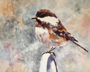 Chickadee Mom, 16x20, watercolor on Plexiglass. $500 unframed.