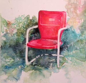 Red Chair 8x8 on Gessoed Watercolor paper