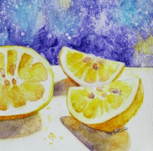 Lemons in Summer. 8x8 gessoed watercolor paper.