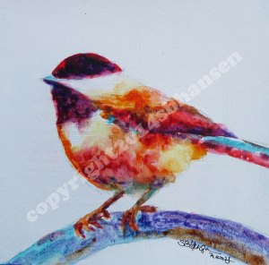 Crazy Chickadee 8x8 watercolor on gessoed watercolor paper