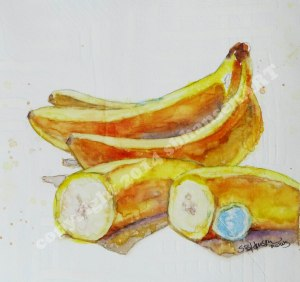 Bananas, 8x8 original watercolor on gessoed watercolor paper