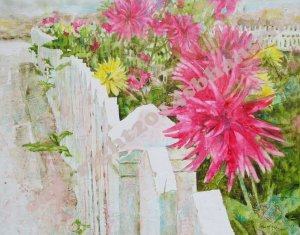 Beachy Dahlias, 16x20 Texi-Plexi, $450, Available