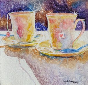 Tea Date, 8x8 watercolor on 300# gessoed watercolor paper. $50