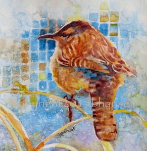 Arizona Cactus Wren, 8x8 watercolor on gesso-covered paper. $50.