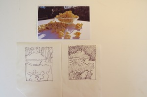 Initial photo, drawing, and value study for Popcorn Blast