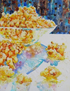 Popcorn Blast, 20x16 original watercolor on gesso-covered, collaged Plexiglas. $450