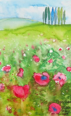 Tuscan Hillside Watercolor