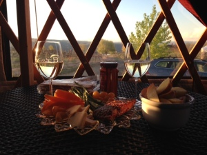 Inside the yurt with our food and wine!