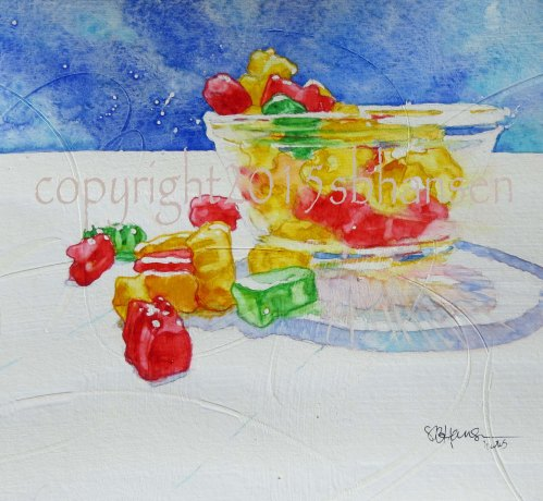 Celebration of Gummy Bears 8x8 original watercolor on gesso-covered watercolor paper $50