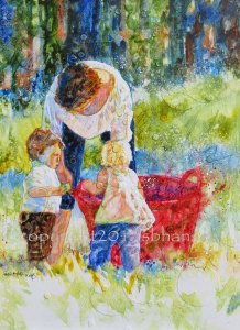 Grandma and the Big Red Bucket, 16x12, watercolor and watercolor pencil on gesso-covered plexiglass.