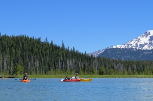 Kayaking with the boys and hubby. South Sister in the background