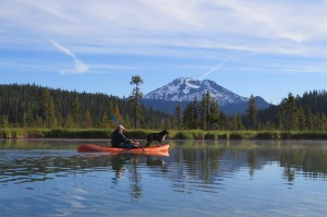 Early morning kayak trip with South Sister in the background.