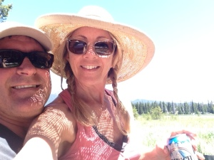 Selfie at the campsite. Yep. That's a cold beer.