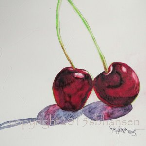 Cherries, 8x8 original watercolor painting on gesso-covered watercolor paper. $50. Matted to fit into a 12x12 frame