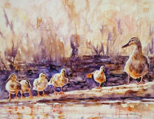 Ducks in a Row, $450  original watercolor and collage on Plexiglas
