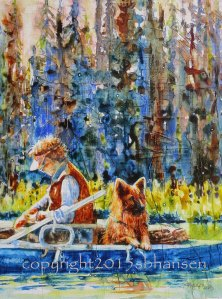 Fishing Buddies, 16x12 original watercolor and collage on gesso-covered Plexiglas