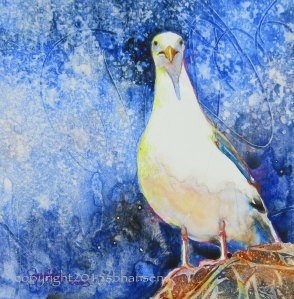 Mine, original watercolor on gesso-covered watercolor paper, 12x12 matted, $50