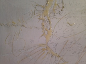 Detail of the canvas before paint is applied