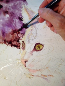 Painting the dark neutral purple background behind the cat