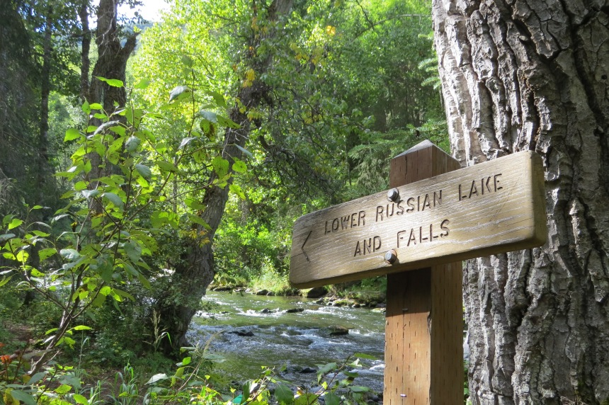 Lower Russian Falls sign