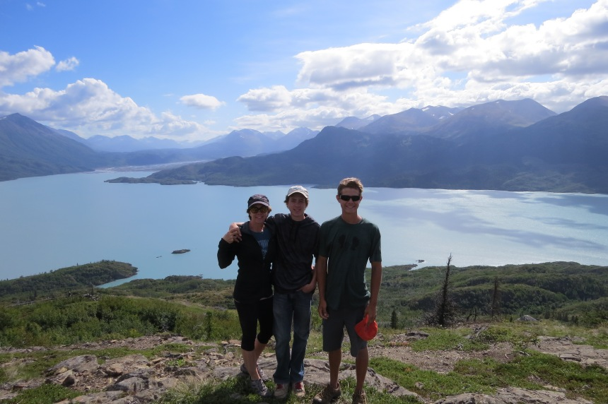 My boys and I at the top of Skilak Lake Lookout Trail. Skilak Lake below