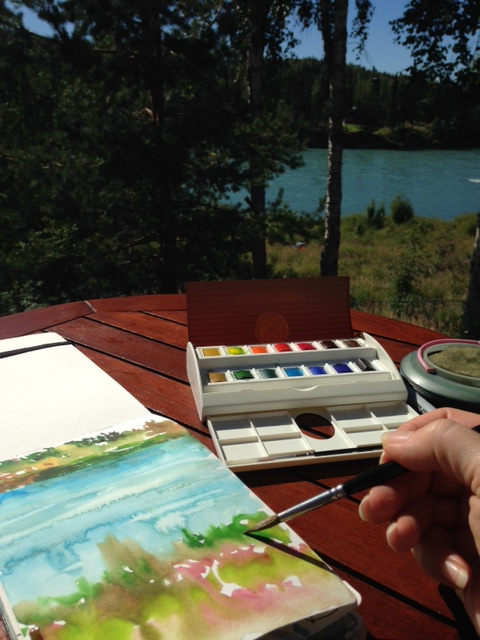 Painting in my journal on the back deck