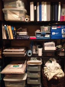 Studio shelving organized. For now.