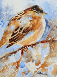 Winter Sparrow, original watercolor on Plexiglas, Private collection