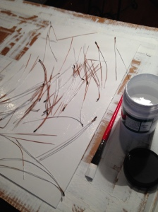 Adding pine needles to the surface of texi-plexi