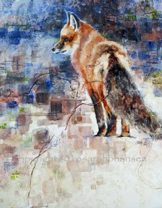 Fox, 20x16, original watercolor, gesso, paper, produce netting, and watercolor pencil on recycled Plexiglas. $550