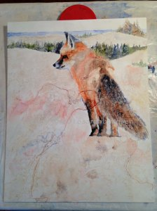 After the fox and the background were almost complete
