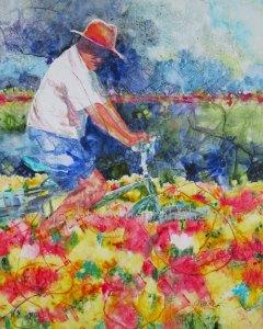 Petals, 20x16, $750 original watercolor and mixed media on Plexiglas