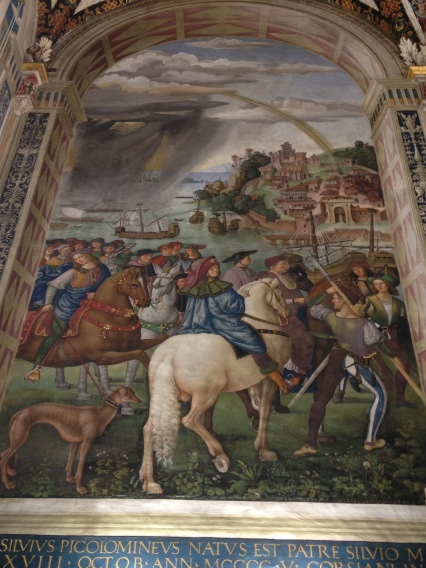 In Siena's Duamo, artist Pinturicchio's frescos date from the 1500's. This one is one of the first frescos that depicted a stormy sky.