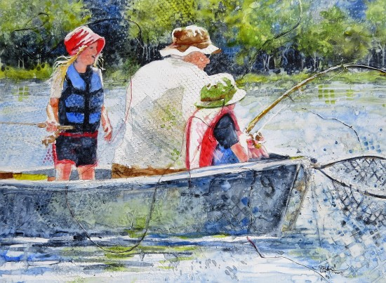 Fishing Bug, 12x20 original watercolor and collage on Plexiglas